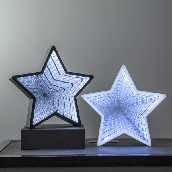 """LED-Leuchtstern """"Mirror"""" - 40 kaltweiße LED - Kunststoff - H: 32cm - Batteriebetrieb - schwarz"""