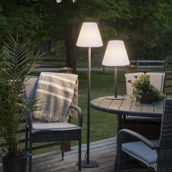 Garten-Beistelllampe/Tischlampe - H: 60cm - weißer 28cm Lampenschirm
