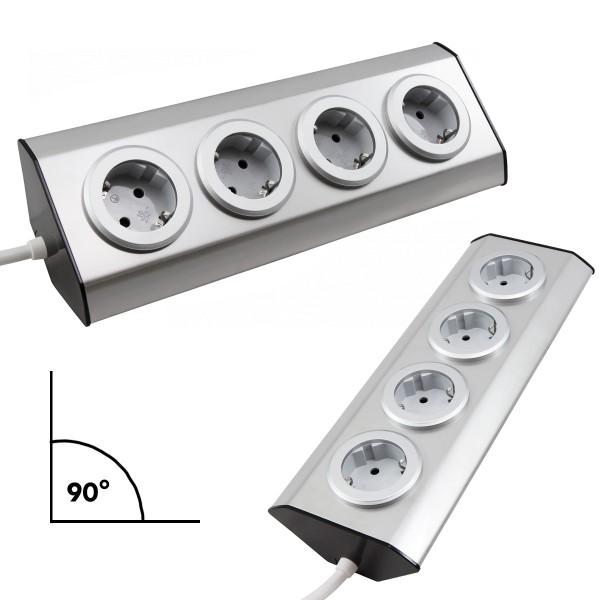 Steckdosenblock 4fach - silber - Winkelmontage - Ideal für Küche, Werkstatt & Büro - Edelstahl