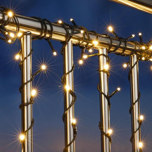 LED Lichterkette  - Outdoor - 100 warmweiße LED - L: 9,9m - Timer - grünes Kabel - Außentrafo