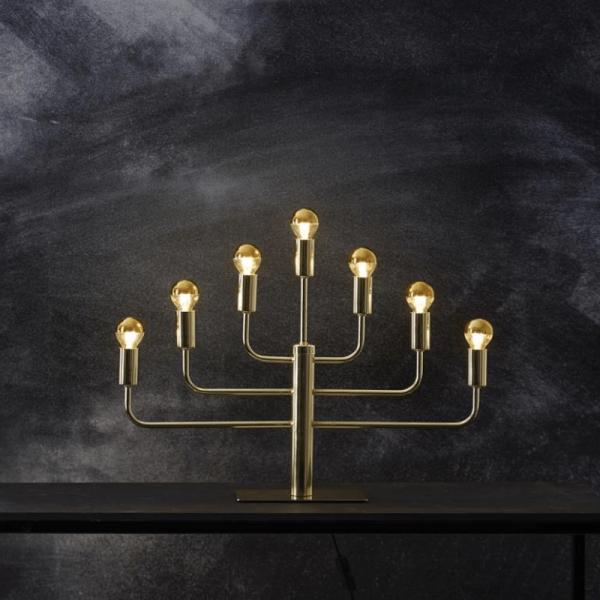 """Kerzenleuchter """"PIX"""" - 7-armig - E14 Fassung - H: 40cm, L: 57cm - goldene Tischleuchte"""