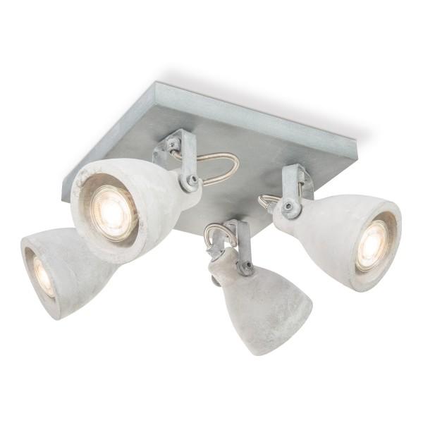 Deckenspots VEDI 4er Quadrat - Betonoptik grau - inkl. 4 x GU10 3000K 345lm 36° - Lichtbalken
