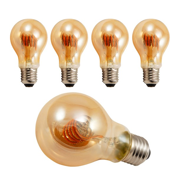 4 x LED Tropfenlampe RETRO-GOLD-Filament - E27 - 6W - 420lm - 2200K