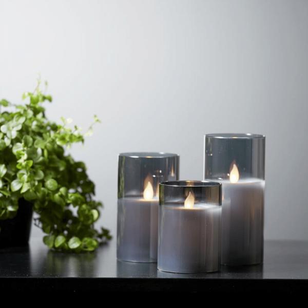 """LED Kerze/Windlicht """"Twinkle"""" - Echtwachs - mechanische Flamme - Timer - H: 12,5cm - rauchschwarz"""