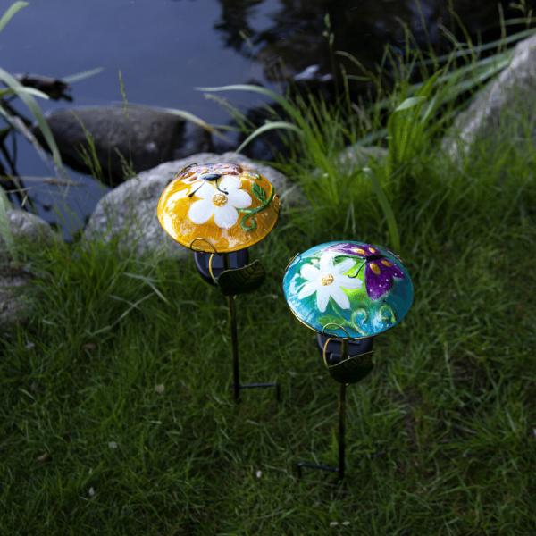 """LED Solarstab """"Glasschirm"""" - mit Marienkäfer - gelb - kaltweiße LED - H: 44cm - Dämmerungssensor"""