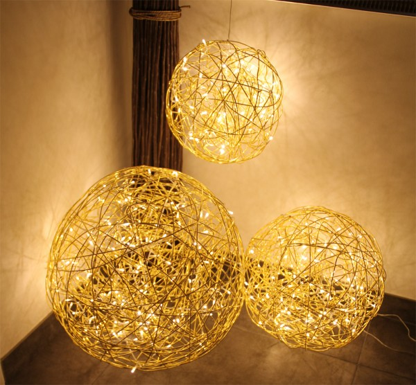 """Drahtkugel gold """"GOLD SPHERE 30"""" - 30cm - 50 warmweiße LEDs - outdoor IP44, Trafo"""