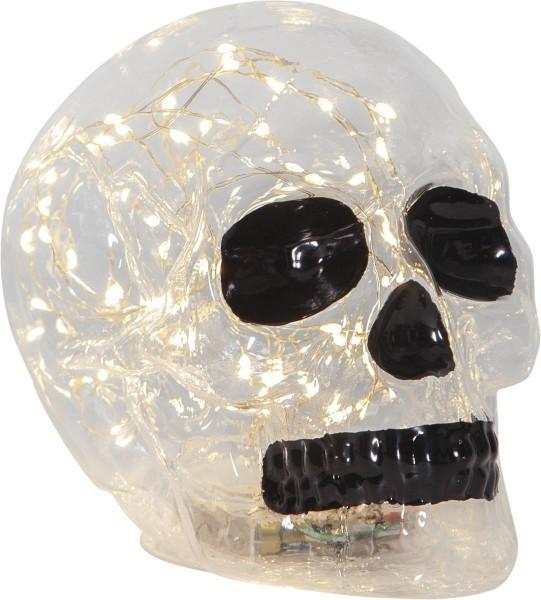 Kristallschädel Dekolampe mit 70 warmweißen LEDs - 18x13,5x12,5cm - Batterie - Timer