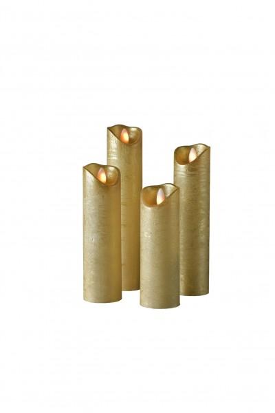 LED Wachskerze SHINE 4er Set schmal | gold | gefrostet | fernbedienbar | Timer