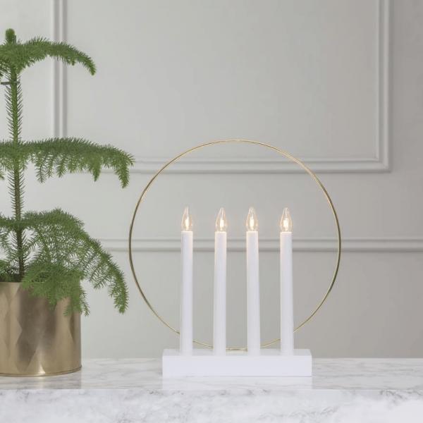 Fensterleuchter/Stimmungsleuchter Glossy - 4 klare Glühlampen - Holz - H: 35 cm - f. Innen - weiß - gold