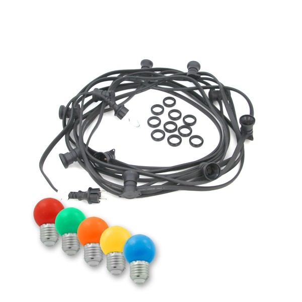 ILLU-Lichterkette BLACKY - 20m - 20xE27 | IP44 | mit bunten LED Kugellampen | SATISFIRE
