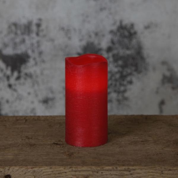 "LED Kerze ""Presse"" - Echtwachs - flackernde LED - Flammenschalter - Timer - H: 15cm, D: 7,5cm - rot"