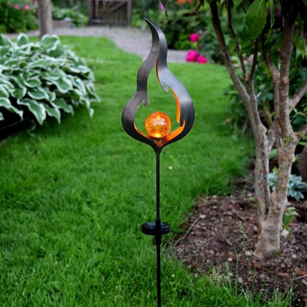"""LED Solarstab """"Feuer""""- schwarz - amber LED - Glaskugel in Flamme - H: 85cm - Dämmerungssensor"""