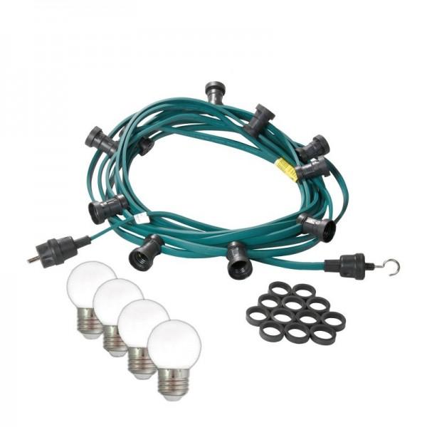 Illu-/Partylichterkette 40m | Außenlichterkette | Made in Germany | 60 kaltweißen LED-Kugellampen
