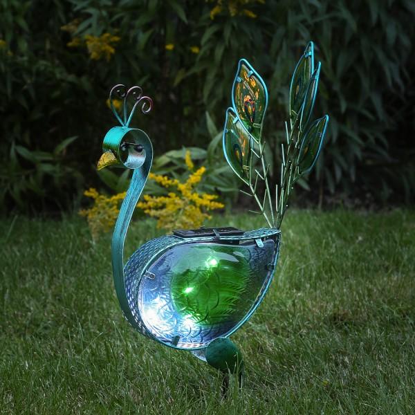 LED Solar Gartenfigur Pfau - 10 kaltweiße LED - H: 42cm - Dämmerungssensor - blau/grün