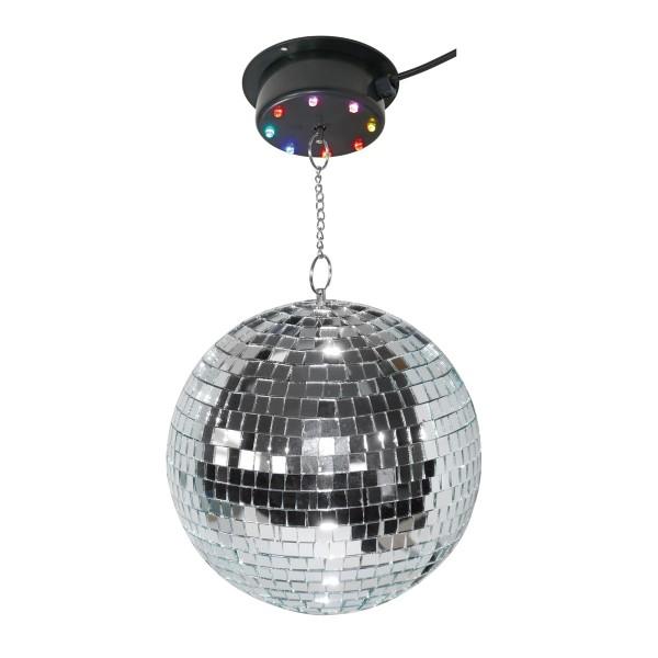 Spiegelkugel Komplettset 20cm mit LED Motor / Farbwechsler