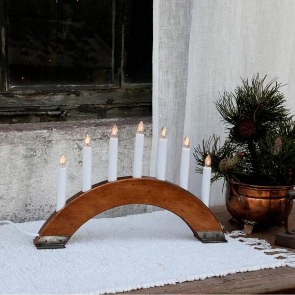 """Lichterbogen """"Viking"""" - 7 warmweiße Glühlampen - L: 42cm, H: 26cm - Holz/Metall - Schalter - Braun"""