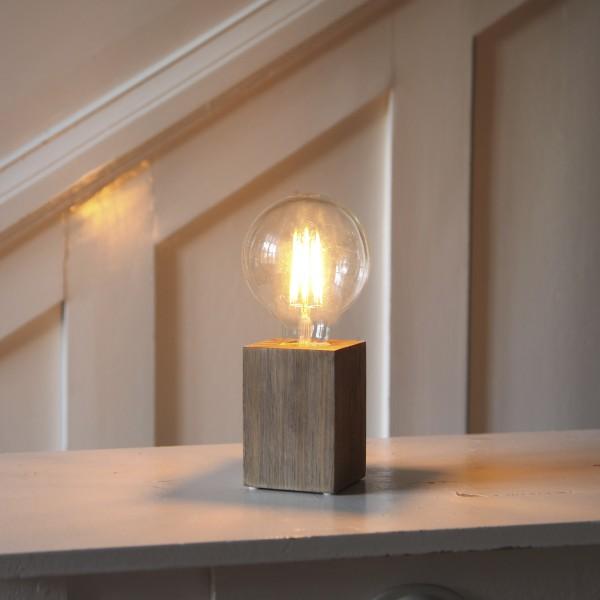 Lampenhalterung LYS - Tischleuchte - E27 - H: 10cm - stehend - Kabel mit Schalter - Holz - braun