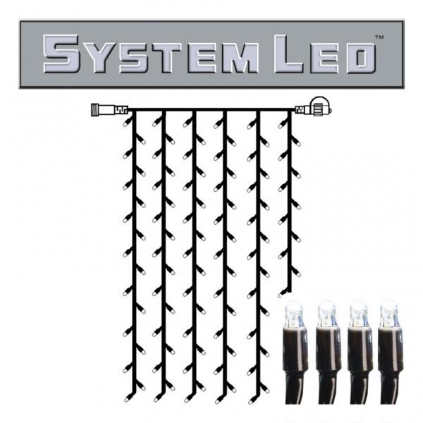 System LED Black | Lichtvorhang | koppelbar | exkl. Trafo | 1.00m x 2.00m | 102x Kaltweiß