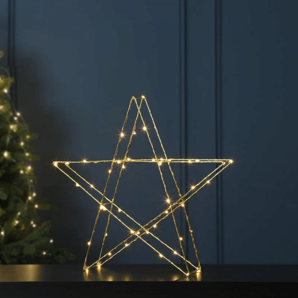 "LED-Metallstern ""Super"" - 50 warmweiße LEDs - stehend - H: 43cm, B: 45cm - gold"