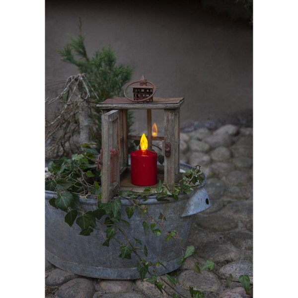 "LED Stumpenkerze ""Paula"" - flackernde LED - H: 11,5cm - Batteriebetrieb - Sensor - Outdoor - rot"