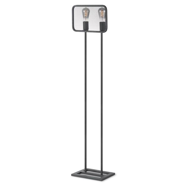 Moderne Stehlampe WEAVE II schwarz - für 2 Filament LED Leuchtmittel - 143cm - 2 x E27