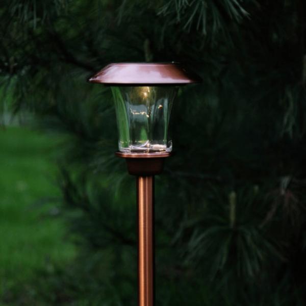 "B-Ware LED Solar Wegleuchte ""Granada"" - Edelstahl - warmweiße LED - H: 48cm - Lichtsensor - kupferfarben"
