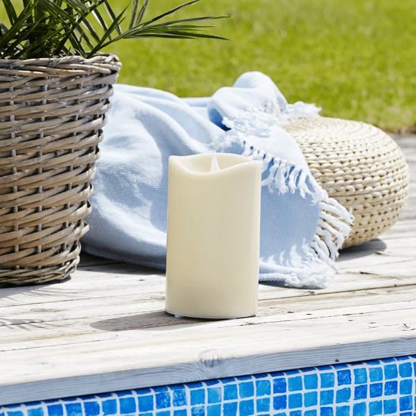 """LED Stumpenkerze """"Grande"""" - Kunststoff - flackernde warmweiße LED - H: 21cm - outdoor - beige"""