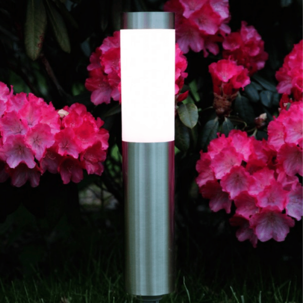 "LED Solar Wegleuchte ""Cordoba"" - Edelstahl - warmweiße LED - 20lm - Dämmerungsensor - silber"