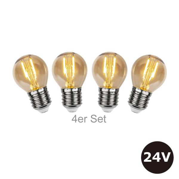 4er Set - 24V Leuchtmittel - 4,5cm - amber - 28lm - 2500K - E27 Sockel - Niedervoltleuchtmittel