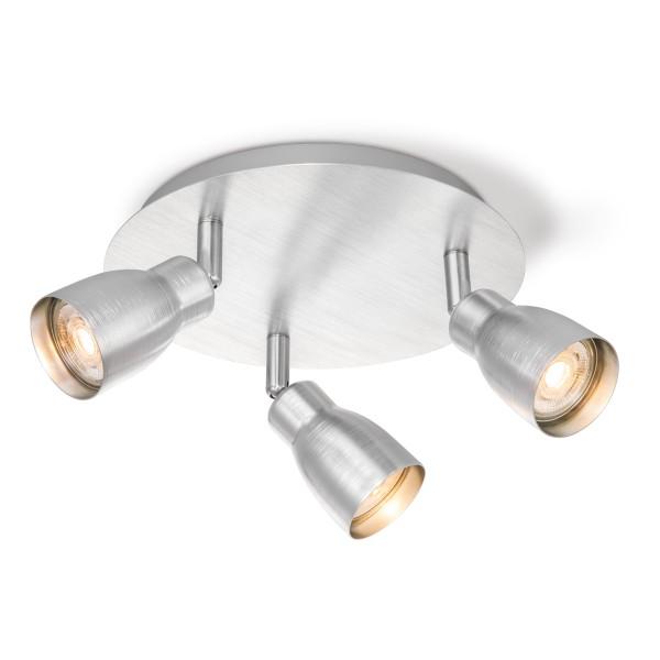 Deckenleuchte / Rondell ALBA aluminium silber - 3fach - inkl. GU10 LED Leuchtmittel