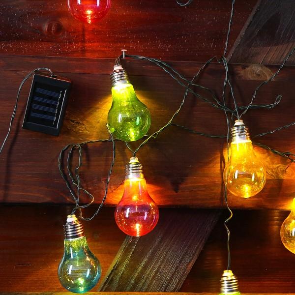LED Solar Lichterkette bunte Glühbirnen - 10 warmweiße LED - L: 4,5m - outdoor