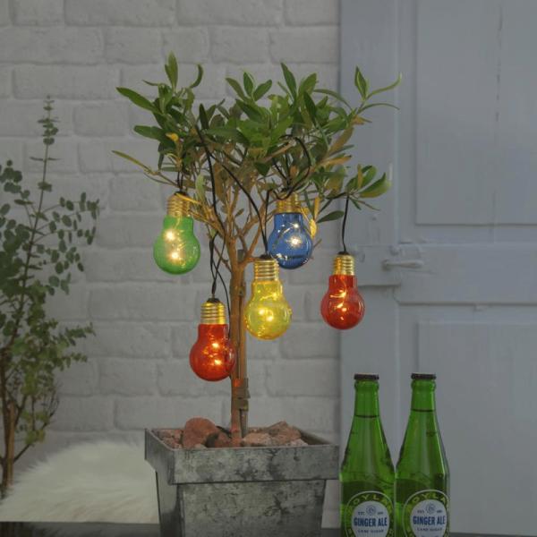 """LED Party Lichterkette """"Glow"""" - 5 Birnen á 2 warmweiße LED - L: 1m - Timer - outdoor - bunt"""