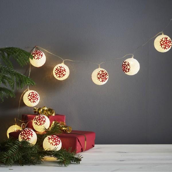 LED Lichterkette Schneeball - 10 warmweiße LED - Batteriebetrieb - Timer - 1,35m - weiß/rot