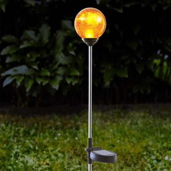 """LED Solarstab """"Roma""""- Edelstahl - amber Glas - amber LED"""