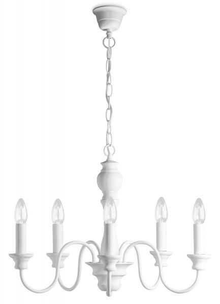 Kronleuchter LILLY weiß - 5 flammig - E14 - mit weißen Schirmchen - 52cm Durchmesser