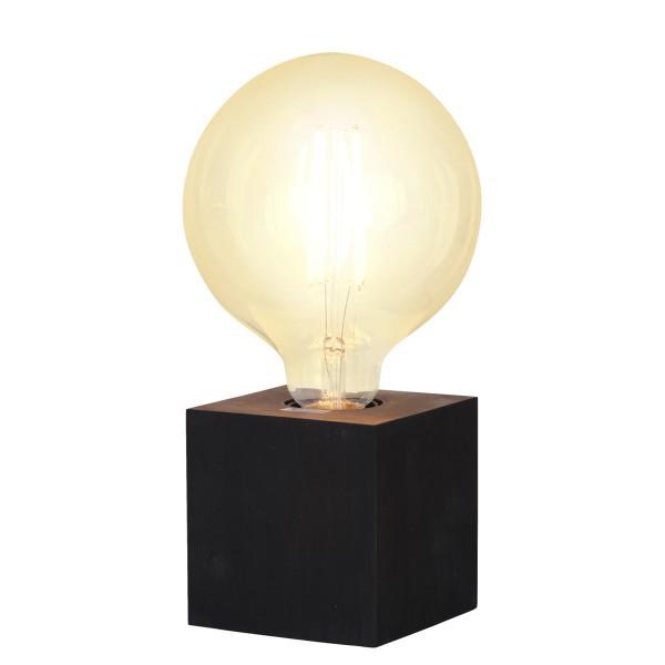 Lampenhalterung KUB - Tischleuchte - E27 - H: 9cm - stehend - Kabel mit Schalter - Holz - schwarz