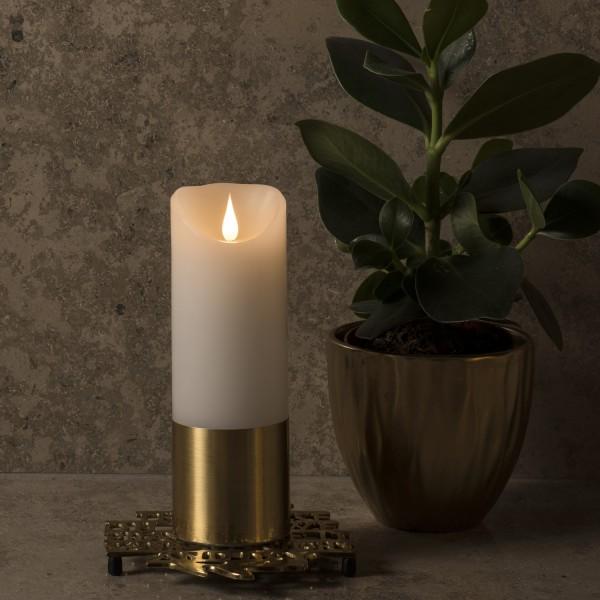 LED Kerze mit goldener Banderole - Echtwachs - 3D Flamme - Timer - H: 20,5cm, D: 7,5cm - weiß