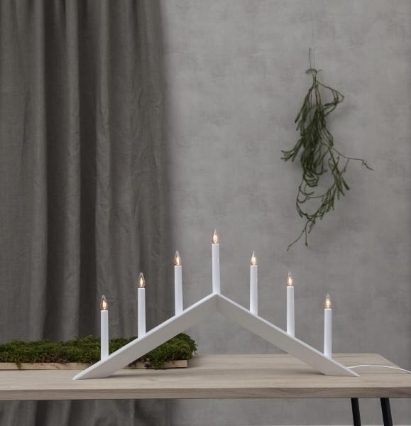 Fensterleuchter ARROW - 7 warmweiße Glühlampen - L: 69cm, H: 36cm - Holz - Schalter - Weiß