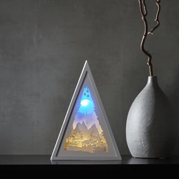 """LED-Bild mehrdimensional """"Winter"""" - weiss - 8 LED - Batterie - Timer - H: 30,5cm - B: 22cm"""