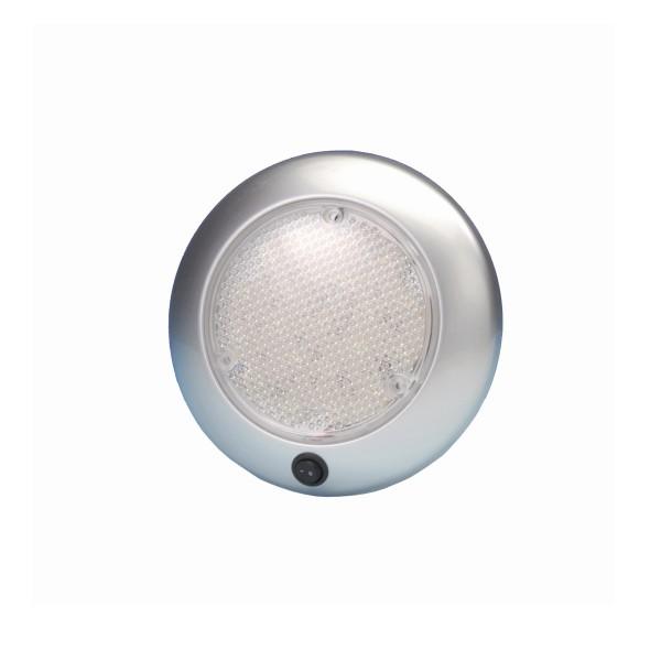LED Deckenleuchte DOME silber - 12V - 21 LED - 15 x 2,5cm - mit Schalter