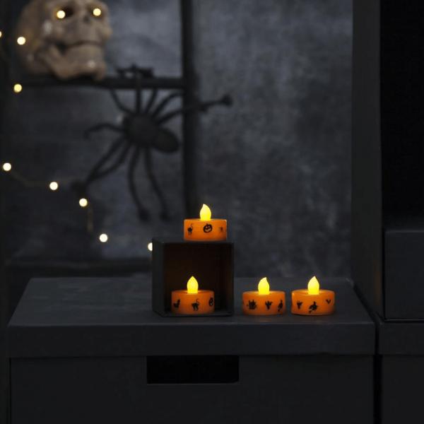 """LED Teelichter """"Halloween"""" - gelbe Flamme - H: 3cm - D: 4cm - Batteriebetrieb - orange - 4er Set"""