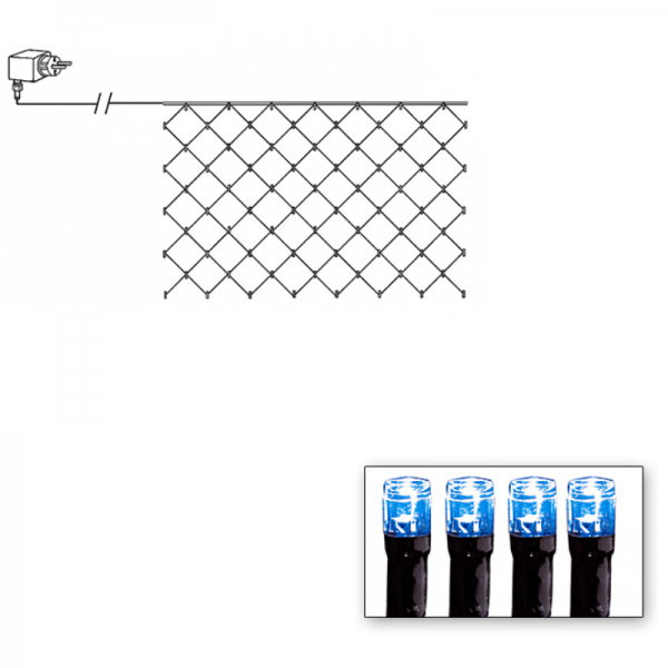 LED-Lichternetz | Serie LED | Outdoor | Schwarzes Kabel | blaue LED | 1.00 m x 2.00m | 90x LEDs