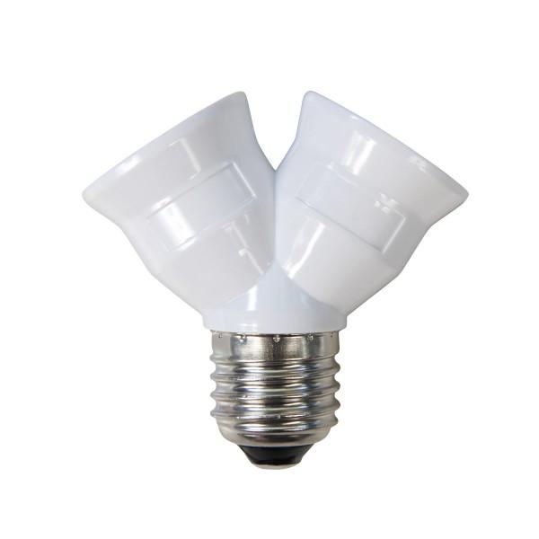 Doppelfassung E17 - 2 Leuchtmittel in einer Fassung aus Porzellan - Y-Adapter - max 100W je Sockel