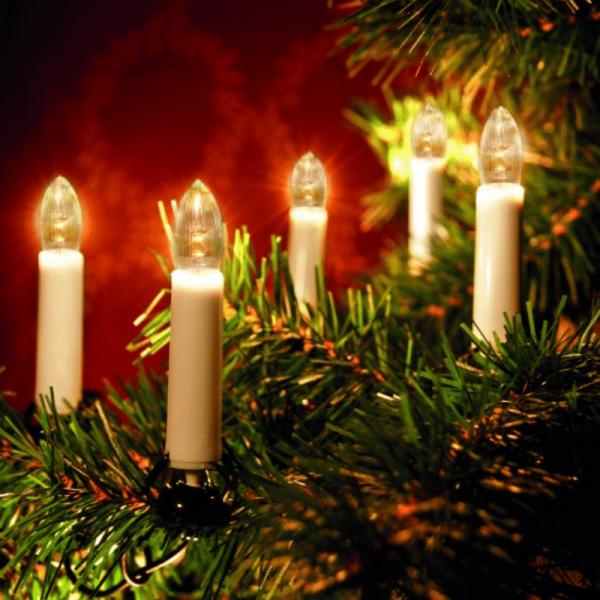 LED-Kerzenkette - 25 warmweiße LED - Indoor - Strang - H: 11cm, L: 16,8m grünes Kabel - weiß