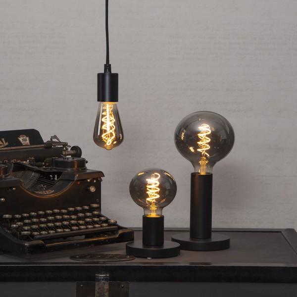 Lampenhalterung   GLANS   E27   →12cm x ↑17cm   180cm Kabel   Röhre lang   stehend   Schwarz