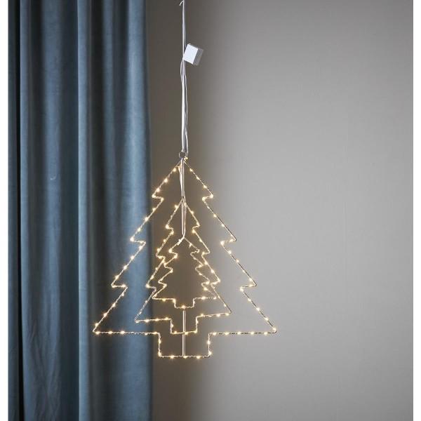"LED Metallbaum/Leuchtbaum ""Triple"" - hängend - 120 warmweiße LED - H: 52cm - 3D Optik - silber"