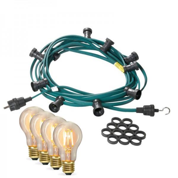 Illu-/Partylichterkette 10m | Außenlichterkette | Made in Germany | 10 x Edison LED Filamentlampen