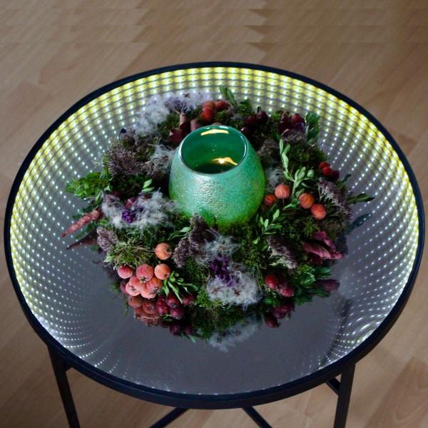 LED-Tisch WARP - rund - 50 cm Endlos-Optik - Spiegeltisch mit LED - Batterie - Timer
