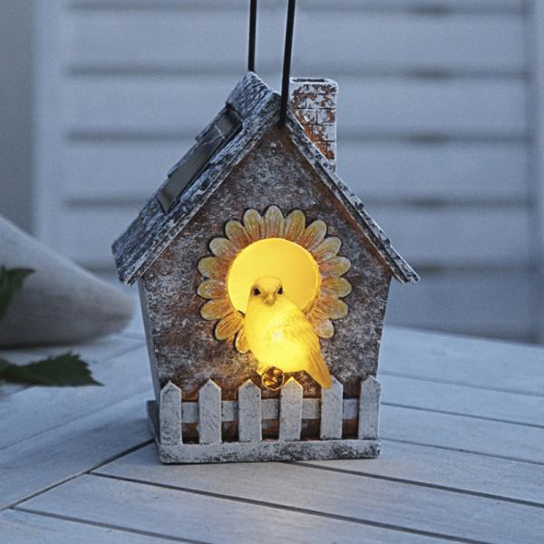 """LED Solar Deko """"Vogelhaus"""" -2 warmweiße LED - H: 16cm - Dämmerungssensor - outdoor"""