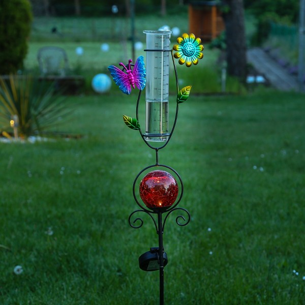 LED Solarstecker SCHMETTERLING - mit Regenmesser - H: 93cm - rote Kugel